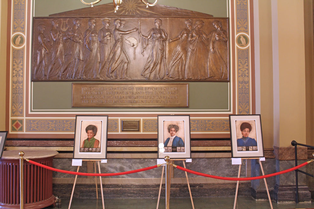 State Capitol women's suffrage exhibit includes Chapman Catt portrait