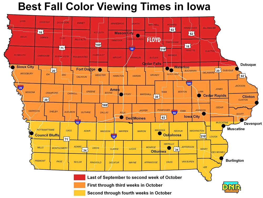Peak fall color in Iowa coming up in next couple of weeks