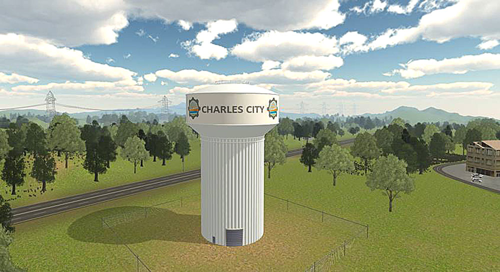 City settles on new lettering and logo for Corporate Drive water tower
